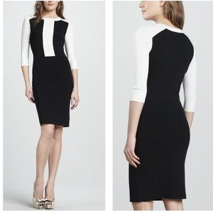 Theory faviana color block fitted knit dress